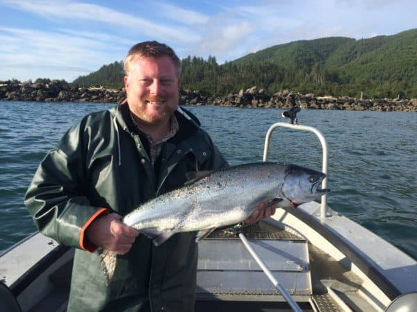 Michael O' Leary with a Tillamook Bay spring Chinook June 2016