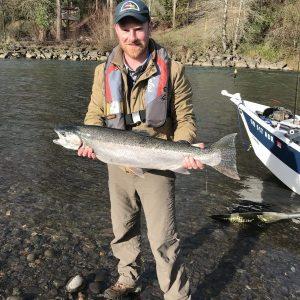 Steelheader communications director Aaron Sewall of Portland with a nice Clackamas River steelhead from January 24th